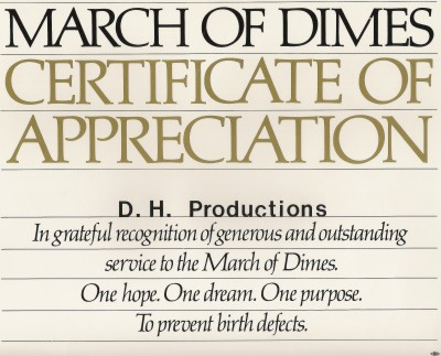 March Of Dimes Certificate Of Appreciation
