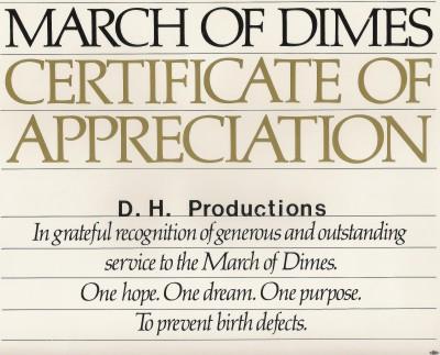 March Of Dimes Certificate Of Appreciation